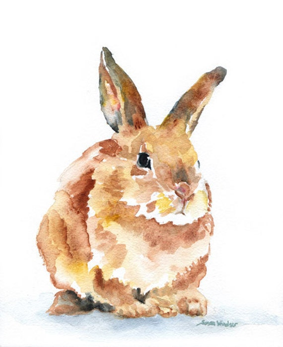 Watercolor Painting Bunny Rabbit Giclee Print 11x14