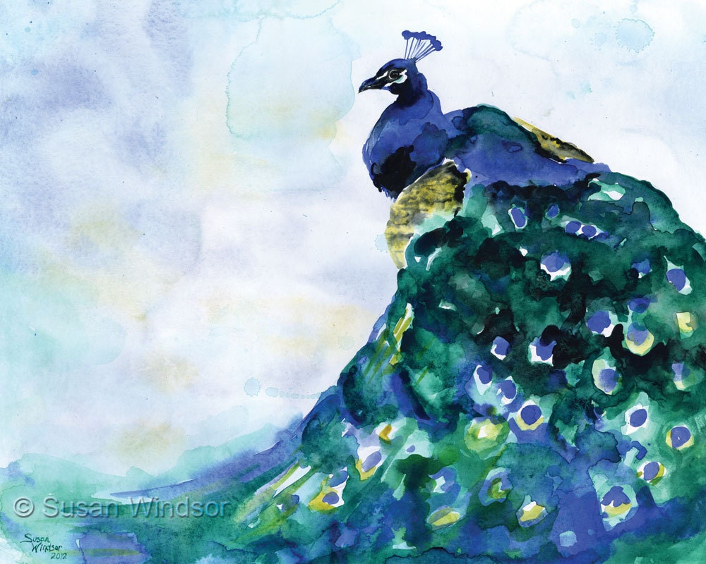 Peacock Watercolor Painting Blue Bird Giclee Print 10 x 8