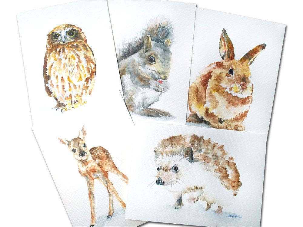 Woodland Animal Watercolor Card Set Greeting Cards 5 x 7
