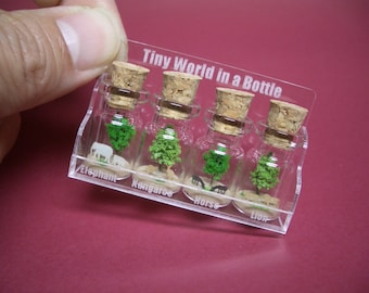 4 safari animal in 4 tiny bottles with a small cute case