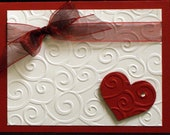 Elegant Red & White Heart Card - DoodileeBoop