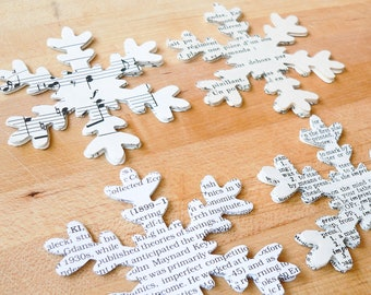 25 paper Snowflakes punched from vintage books - french, music, dictionary, biographical - winter, holiday decor, DIY