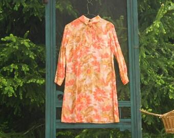 Sunflower Dress A Line Summer Dress Poet Dress 60's Dress Mod Dress Long Sleeve Dress With Puff Sleeves