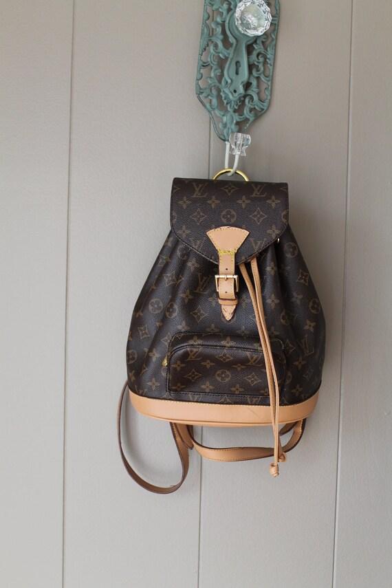Leather and Canvas Louis Vuitton Paris Backpack Purse