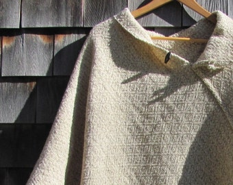Rustic Woodland Mountain Country Cabin Beach Cottage Wool Poncho Cape Cloak Cover Up Overcoat Natural Beige White Woven Mens Womens Fashion