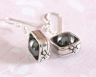 Framed Hematite Earrings, Sterling Silver Jewelry, Dangle Earrings, Made in USA, SRAJD