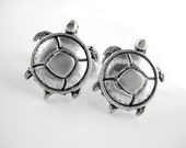Sea Turtle Cufflinks - Beach Wedding Gift For Men - Gifts Under 50 - 25th Anniversary Gift - Silver Animal Cuff Links