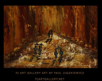 New York Boulevard Rain abstract knife painting Paul Juszkiewicz texture red brown brow cognac city street view impasto