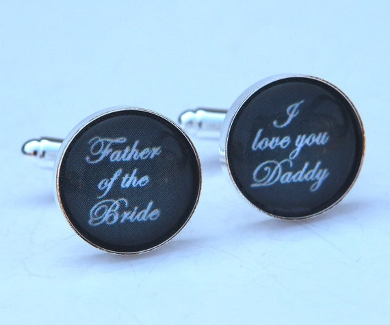 Father of the Bride Cufflinks, Gray Wedding Gift for Dad, Father of Bride Gift - Custom Cufflinks in Gray or custom color