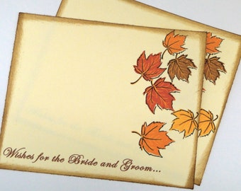Wedding Guest Book Alternative Cards - Set of 50 -Fall Leaves Wedding Wishes