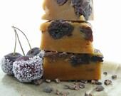 Caramels Black Cherry Cocoa Nib - Winter Wedding favor - Hostess Gift - handmade candy