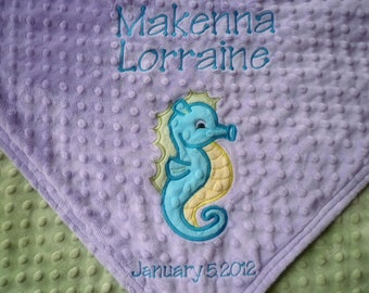 Personalized baby blanket- seahorse lavender and sage green- Stroller blanket 30x35- with name baby blanket