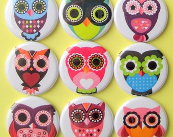 Owl Magnets - Set of Nine 1.25 Inch Button Magnets Packaged in a Custom Box