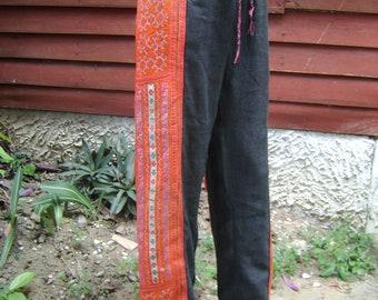 Black Orange 100 percent hemp pants with batik/embroidery for Men