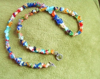 Thousand Flowers Multicolor Bouquet Millefiori Italian Glass Beaded Necklace