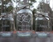 3 Piece Personalized Engraved Mason Jar Sand Ceremony set, Wedding Ceremony Set,Unity sand set, Wedding Keepsake, 2 pouring vases