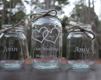 4 Piece Personalized Engraved Mason Jar Sand Ceremony Set Wedding Keepsake