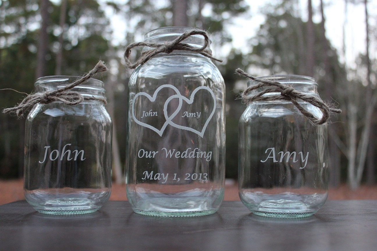 3 Piece Personalized Engraved Mason Jar Sand Ceremony Set
