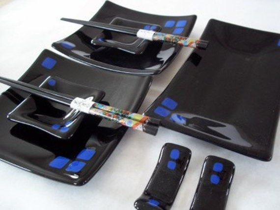 Black with Blue Squares Fused Glass Sushi Set for Two