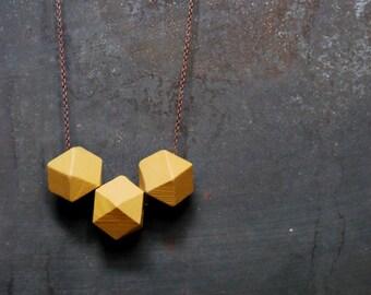 Antique Gold Geometric Wood Necklace - Boho Necklace - Everyday