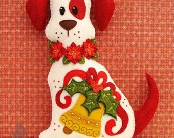 Dog Stuffed Animal Pattern - Felt Plushie Sewing Pattern & Tutorial - Holly the Christmas Dog - Christmas Embroidery Pattern PDF