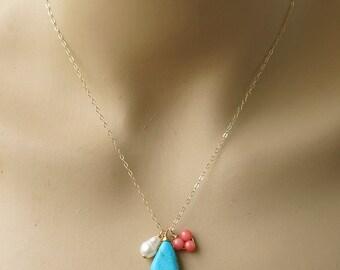 Turquoise necklace, gold necklace, turquoise gold necklace, pearl necklace, pink coral necklace, simple necklace, gemstone necklace
