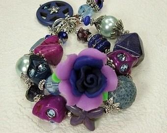 Purple Day of the Dead / Dia de los Muertos / Sugar Skull / Cowgirl Bracelet - VioLeT RoSe
