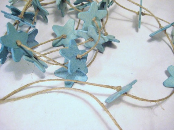 Little Wooden Star Banner / Garland / Handpainted Blue Stars / Star Ornaments / Aqua Turquoise