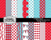 Immediate Download Red and Aqua Digital Papers, Blue and Red Digital Backgrounds, Birthday Party paper, Polka Dot Printable Paper Pack