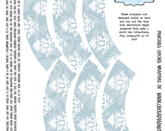 NEW Printable MINI Cupcake Wrappers--White and Pale Blue Damask...6 wrappers per sheet