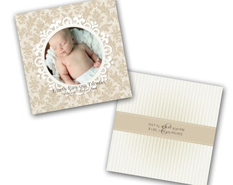 INSTANT DOWNLOAD - Birth announcement photo card template, 5X7 card - 0302