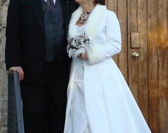 Custom made to Order - Winter  Bridal Wedding Coat - Satin  - Fur or sequin Trimmed - Long