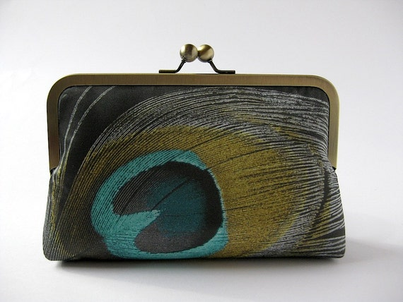 Noir Peacock Silk,Bridal clutch, Evening purse, Bridesmaid clutch by Bag Noir clutch