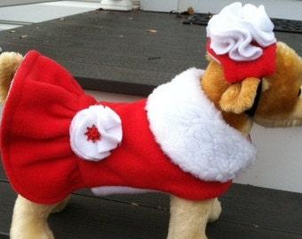 Mrs Santa Ruffle Dog Jacket
