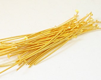 "Gold Headpins - Gold Plated Head pins - Flat End Pins - 200 Pcs - 2.5""  70mm 21 Gauge - Jewelry Findings - Bead Inserts - Diy Craft Supplies"