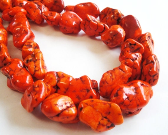 Orange Magnesite Turquoise Chunky Nugget Beads 16 Inch Strand 10mm-22mm Approx