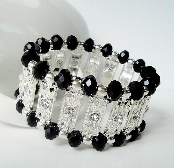 Black Crystals With Silver Connectors Elastic Bracelet/ Black Crystal Stretchy Bracelet
