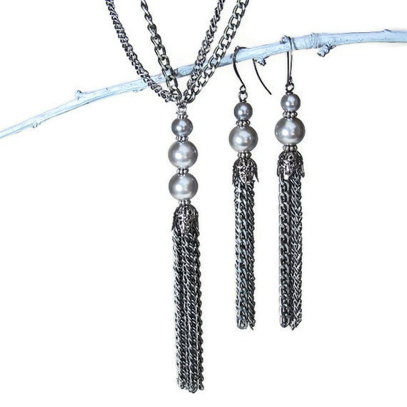 Long Tassel Necklace, Tassel Earrings, Gray Pearl Necklace Earring Set, Gunmetal