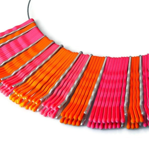 Necklace Statement in Neon, Upcycled Jewelry, Neon Jewelry