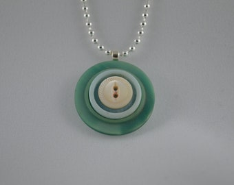 Sterling silver with green, light blue, & white vintage buttons, pendant necklace, 18""