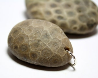 Petoskey, Fossil, Stone Jewelry Pebble Bead Supplies- Jewelry Pendant Focal- Brown Fossilized Coral-350 Million Years Old-Worry be Gone