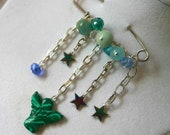 "Swarovski and Semi Precious Gems, stones, Brooch ""Cosmos"", stars, angels, sparkly for winter"
