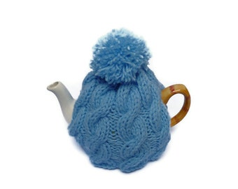 hand knitted tea cosy cosies   cable wool uk seller