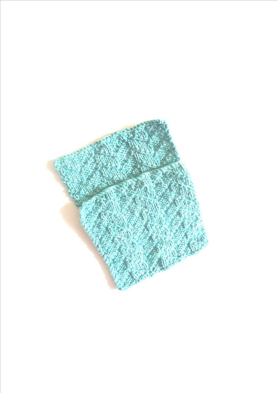 wash cloth dish cloths in cotton aqua  hand knitted