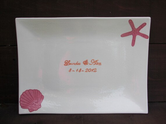 Custom Beach Wedding Signature Guestbook Platter - Personalized with Starfish and Seashells - Bright Pink