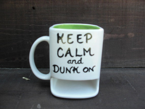 Keep Calm and Dunk On - White with Lime Green - Ceramic Cookies and Milk Dunk Mug