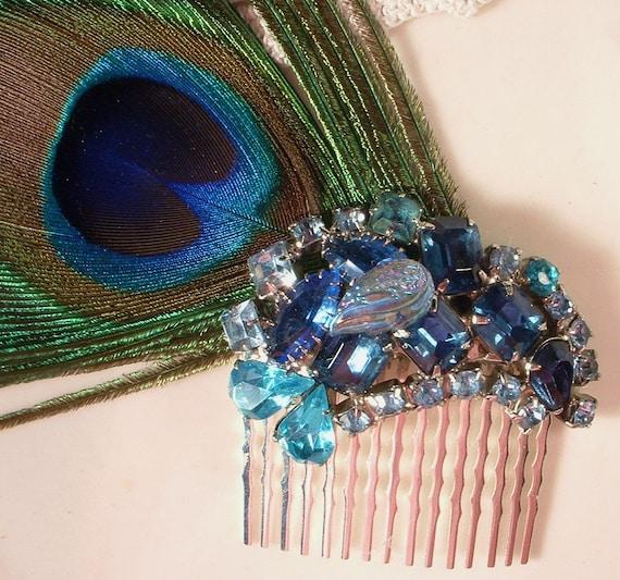 Peacock Rhinestone & Feather Bridal Hair Comb Fascinator, Heirloom Silver Plated Comb TRUE Vintage Brooch Haircomb