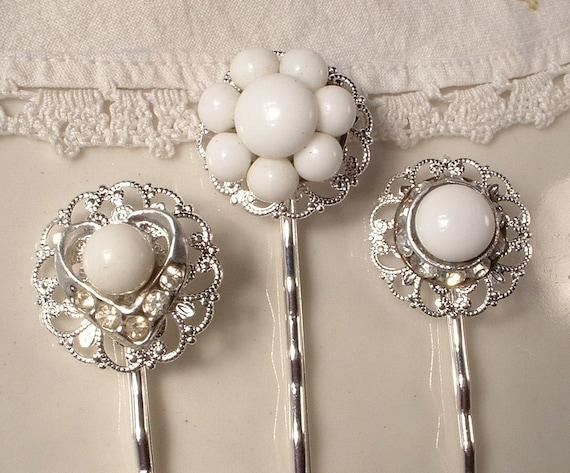 Vintage White Milk Glass & Rhinestone Bridal Hair Pins - OOAK Sterling Plated Heirloom Jeweled Bobby Pins Set of 3