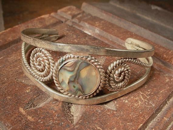 Artisan Mexican Inlaid Abalone Alpaca Silver Cuff Bracelet FANTASTIC Patina