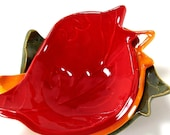 Ceramic Birdie Bowl - Scarlet Red - Ring Bowl/Kids Room/Home Decor/Gift - Handmade Pottery